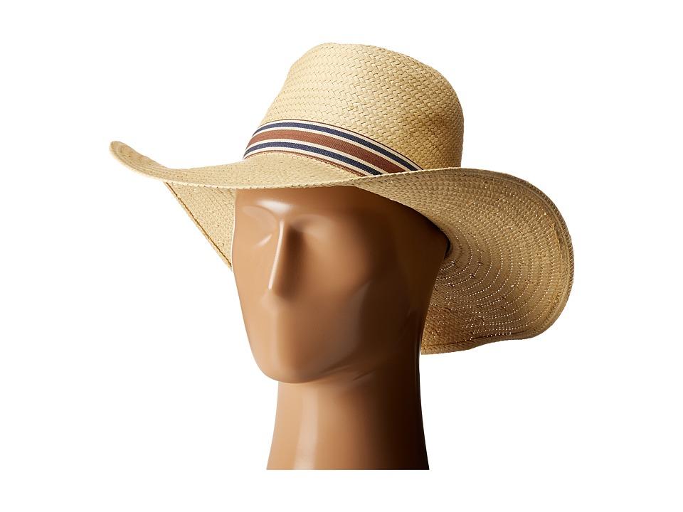 Vince Camuto - Stripe Grosgrain Wide Brim Floppy Hat (Tan) Caps