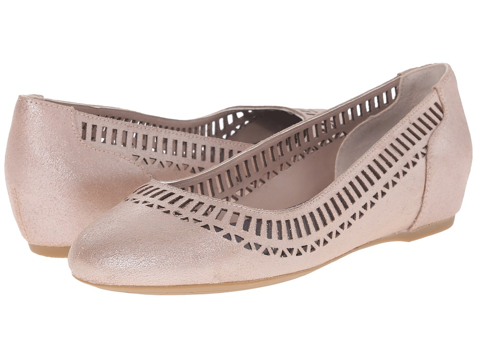 Rockport Total Motion 20mm Lazer Cutout Ballet (Warm Taupe/Silver Pearl) Women