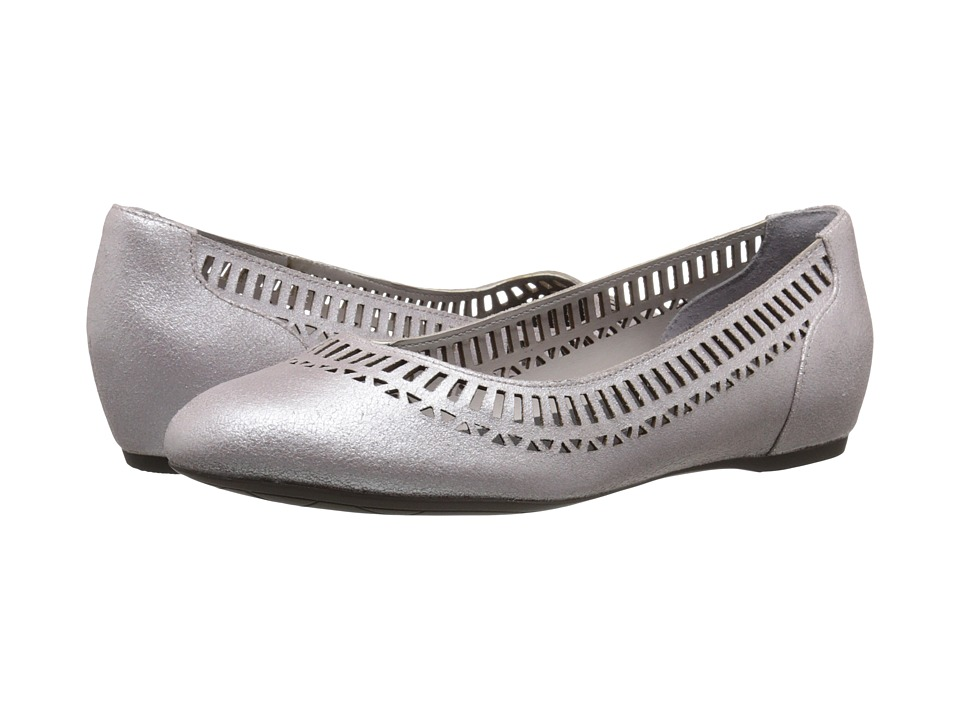 Rockport - Total Motion 20mm Lazer Cutout Ballet (Smog/Silver Pearl) Women's Flat Shoes