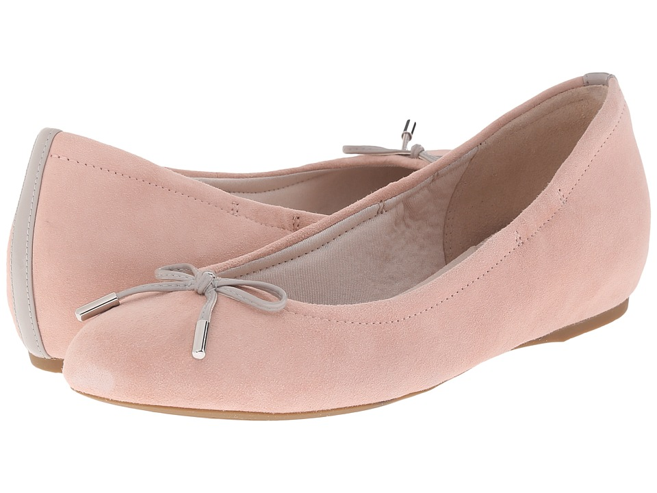 Rockport - Total Motion Hidden Wedge Tied Ballet (Pink Haze Kid Suede) Women's Flat Shoes