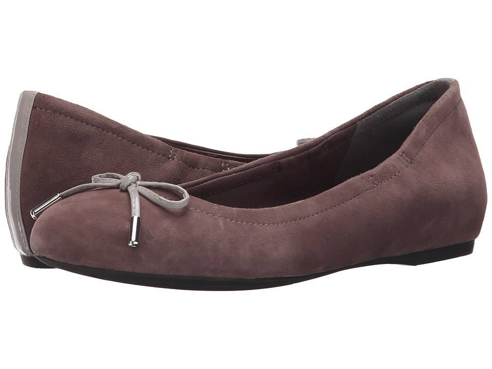 Rockport - Total Motion Hidden Wedge Tied Ballet (Sparrow Kid Suede) Women's Flat Shoes