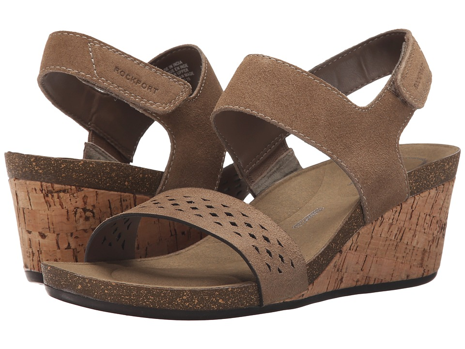 Rockport - Total Motion Taja Quarter Strap (Camel Cas Suede) Women's Wedge Shoes