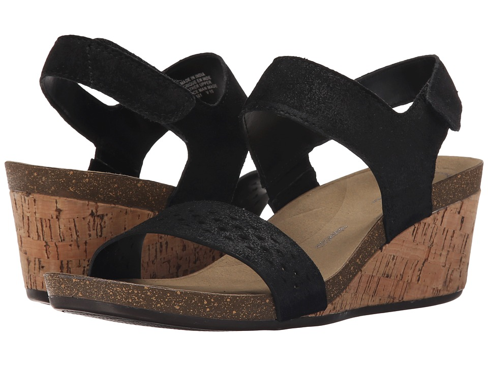 Rockport - Total Motion Taja Quarter Strap (Black Cas Suede) Women's Wedge Shoes