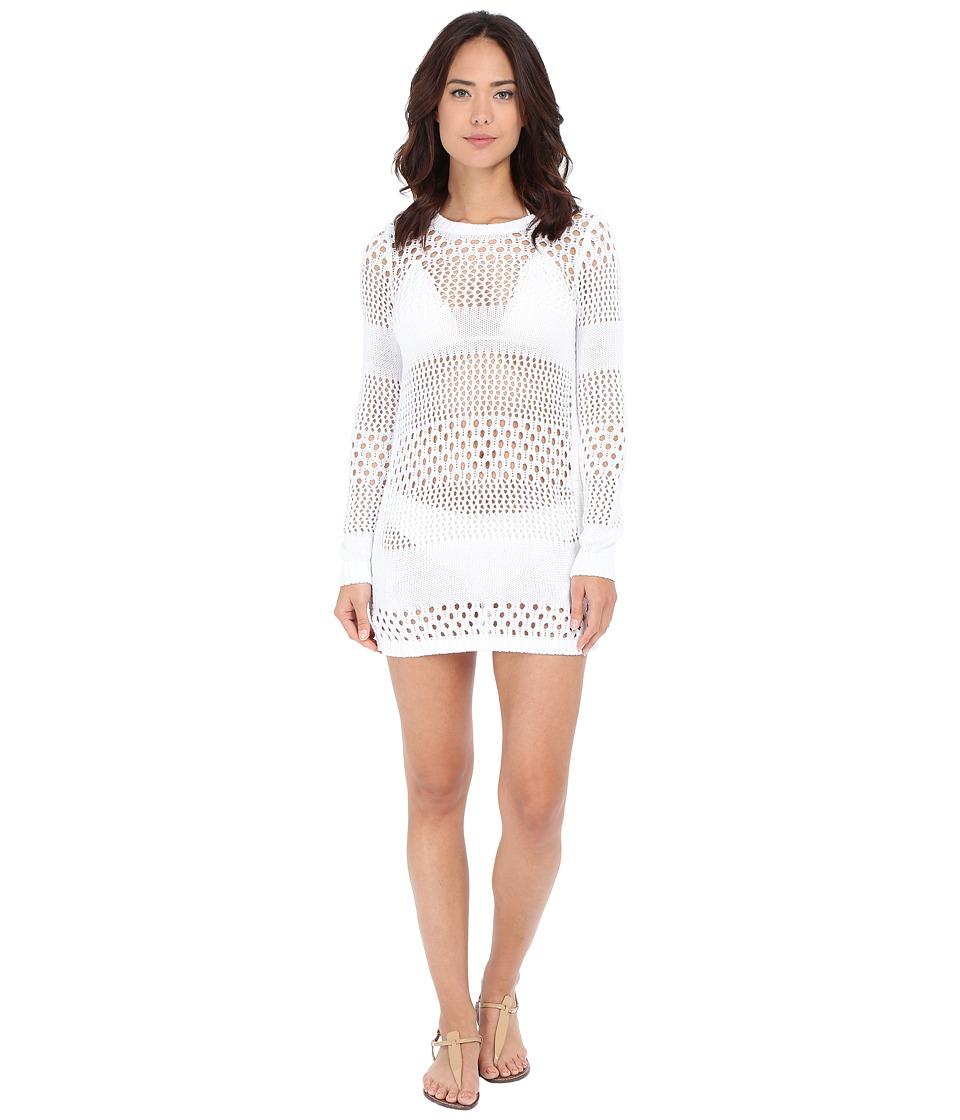 Tommy Bahama - Beach Sweater Open Weave Variegated Sweater w/ Side Zipper Cover-Up (White) Women's Swimwear