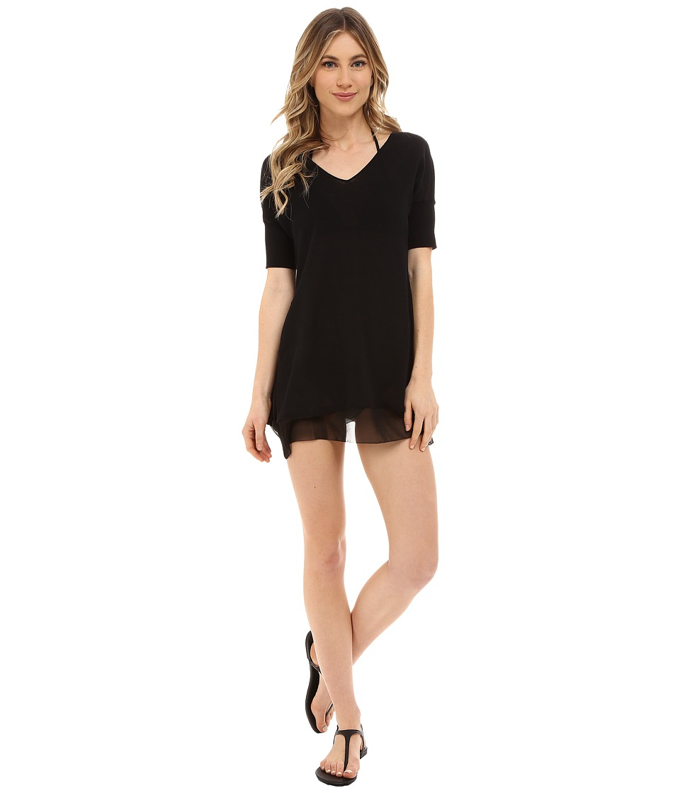 Tommy Bahama - Beach Sweater V-Neck Sweater w/ Chiffon Trim Cover-Up (Black) Women's Swimwear