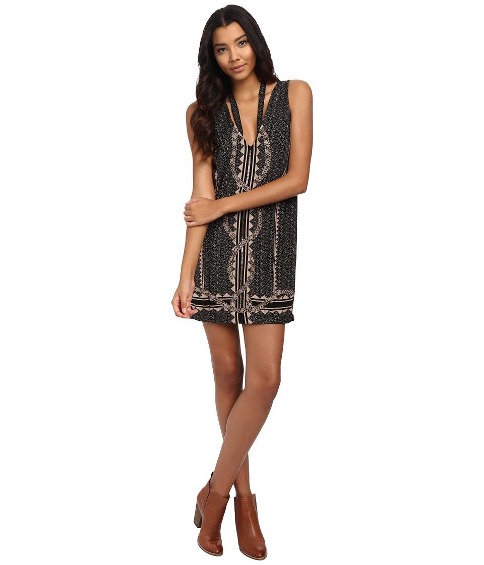 Free People - Diamonds Snakes Dress (Black Combo) Women's Dress