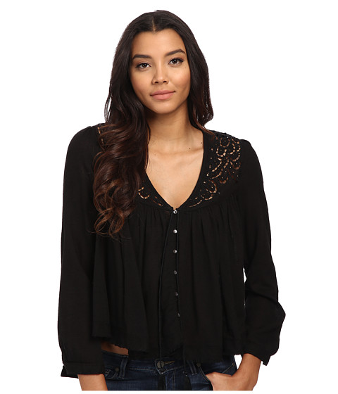 Free People - Doing It Right Button Down Woven Top (Black) Women
