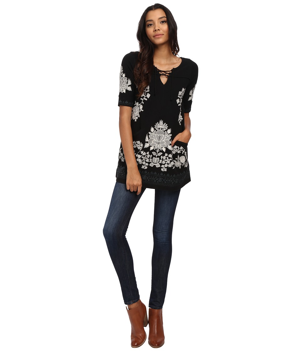 Free People - Talia Knit Top (Black Combo) Women's Clothing