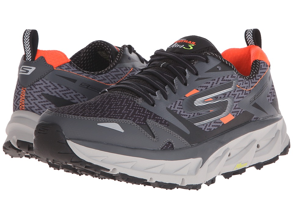 SKECHERS - Go Ultra Trail 3 (Charcoal/Orange) Men's Running Shoes