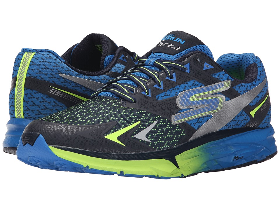 SKECHERS - Go Run Forza (Navy/Lime) Men's Running Shoes