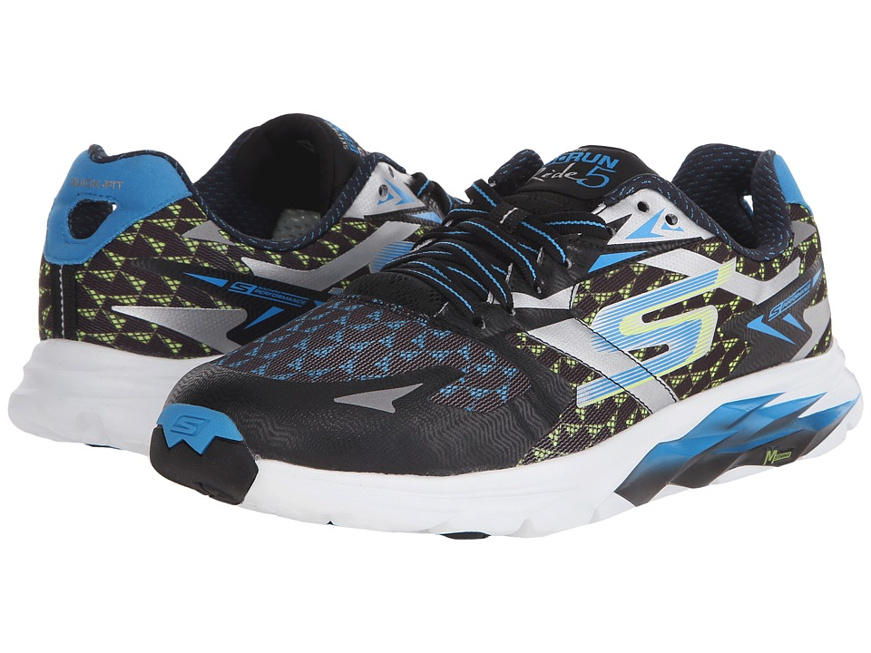 SKECHERS - Go Run Ride 5 (Black/Blue) Men's Running Shoes