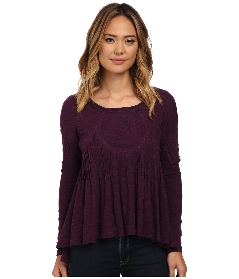 Free People - New Hope Babydoll (African Violet) Women's Long Sleeve Button Up
