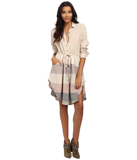 Free People - Ray of Light Button Down Woven Top (Pearl Combo) Women