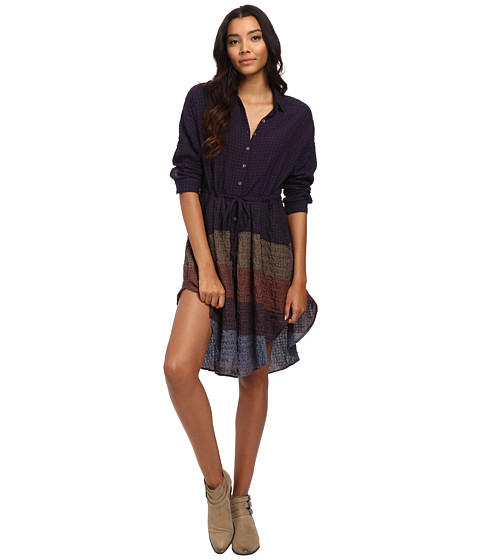 Free People - Ray of Light Button Down Woven Top (Plum Combo) Women