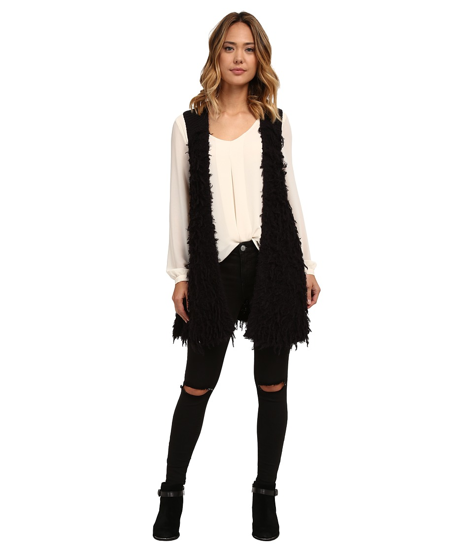 Free People - Rolling Stone Furry Vest (Black) Women's Sweater