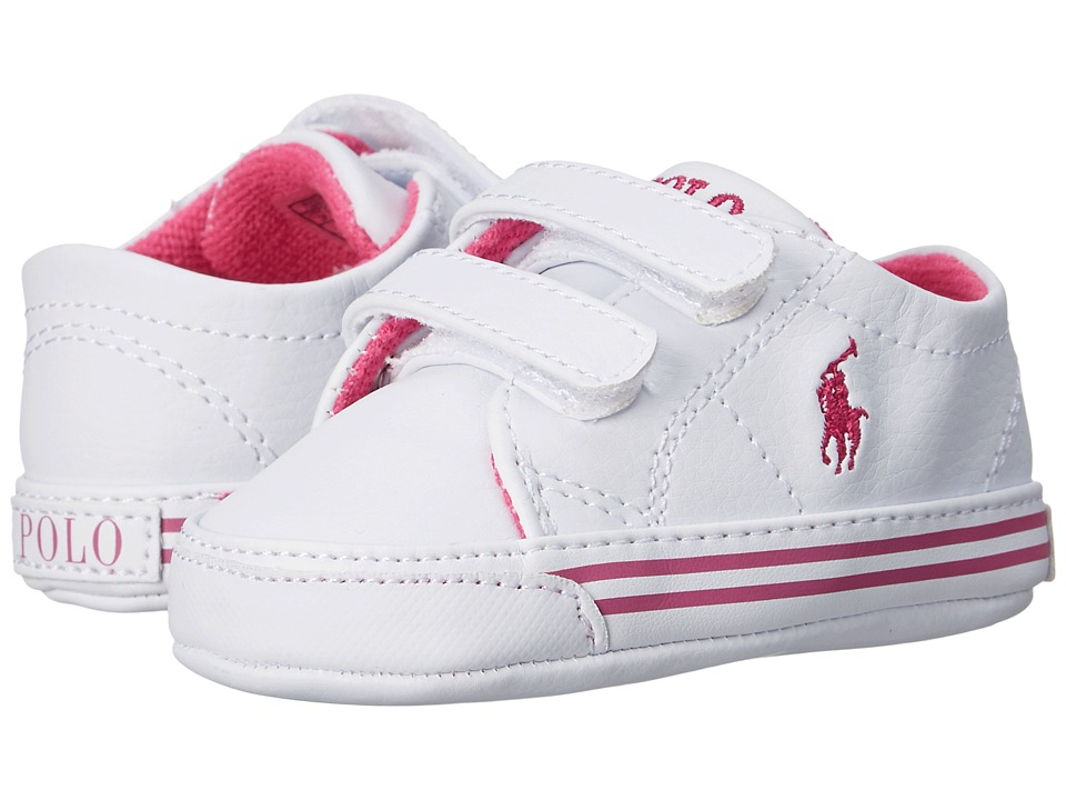 Ralph Lauren Layette Kids - Scholar EZ (Infant/Toddler) (White/Pink) Girls Shoes