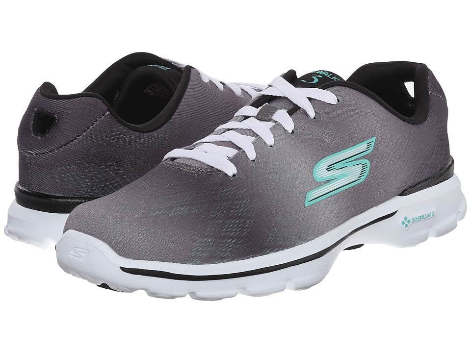 SKECHERS Performance - Go Walk 3 - Pulse (Grey/Aqua) Women's Shoes