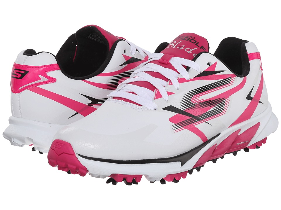 SKECHERS Performance - Go Golf Blade (White/Pink) Women's Walking Shoes