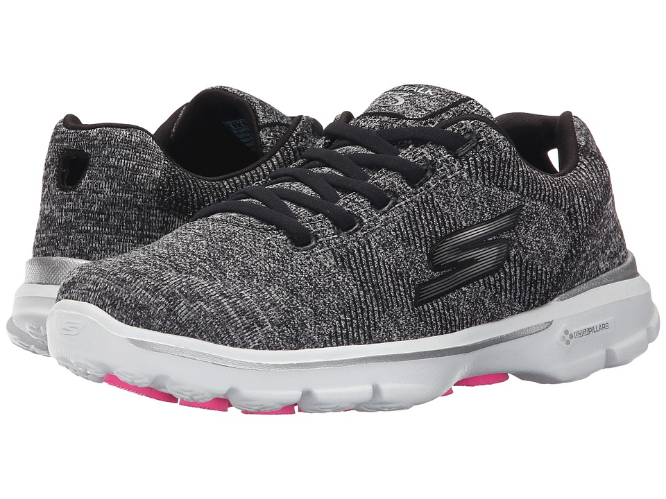 SKECHERS Performance - Go Walk 3 - Stretch (Black/White) Women's Walking Shoes