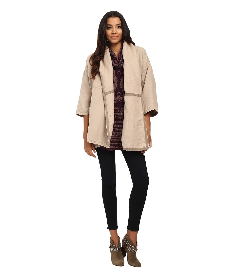 Free People - Seamed Slouchy Coat (Oatmeal) Women's Coat