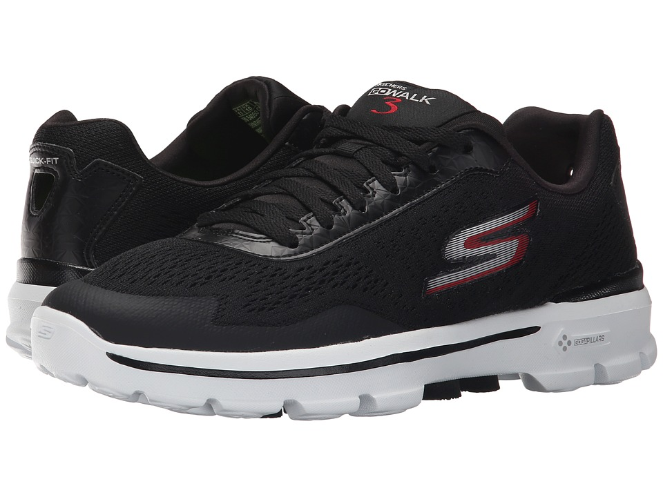 SKECHERS Performance - Go Walk 3 Compete (Black/White) Men's Walking Shoes