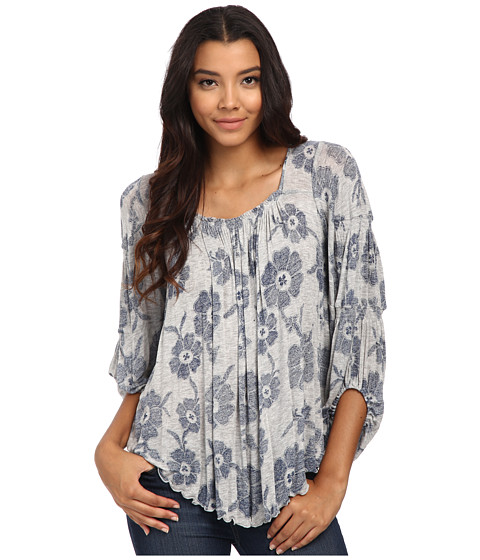 Free People - Zoe Printed Top (Grey Heather Combo) Women's Clothing