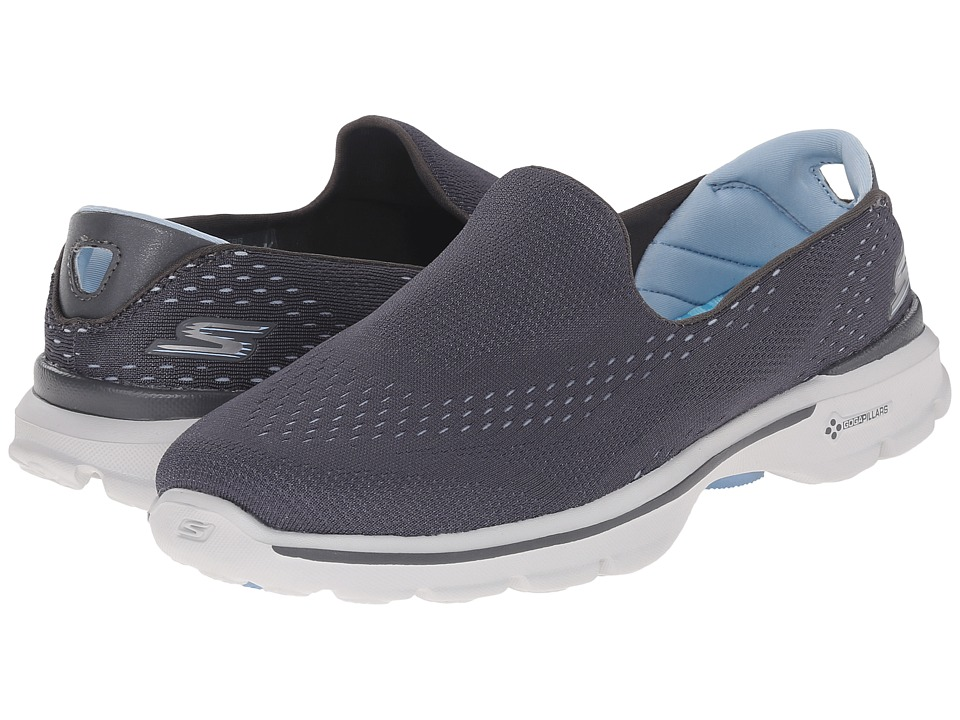 SKECHERS Performance - Go Walk 3 - Dominate (Charcoal/Blue) Women's Walking Shoes