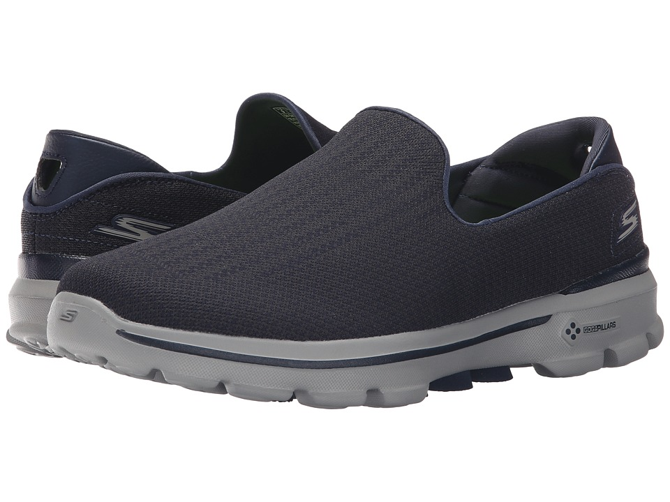 SKECHERS Performance - Go Walk 3 (Navy/Grey) Men's Slip on Shoes