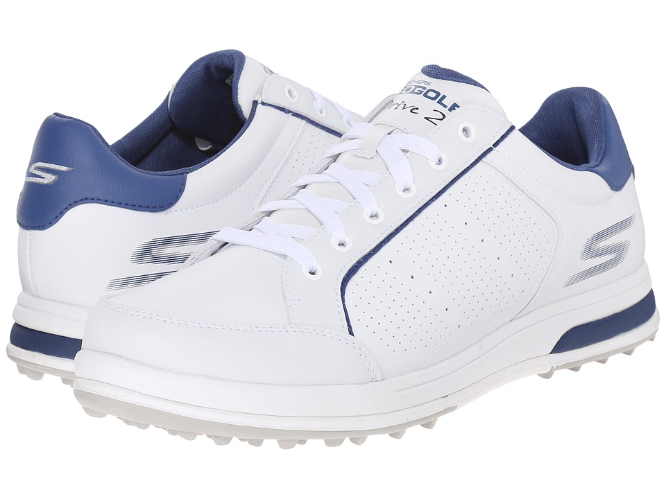 SKECHERS Performance Go Drive 2 (White/Navy) Men