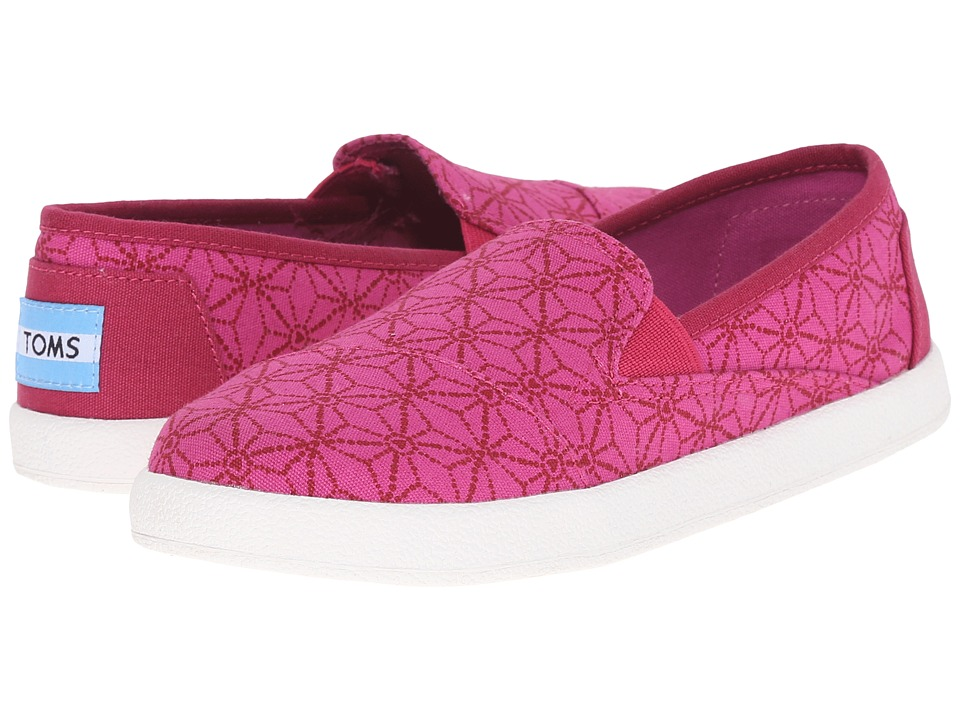 TOMS Kids - Avalon Slip-On (Little Kid/Big Kid) (Pink Canvas Batik Hearts) Kids Shoes