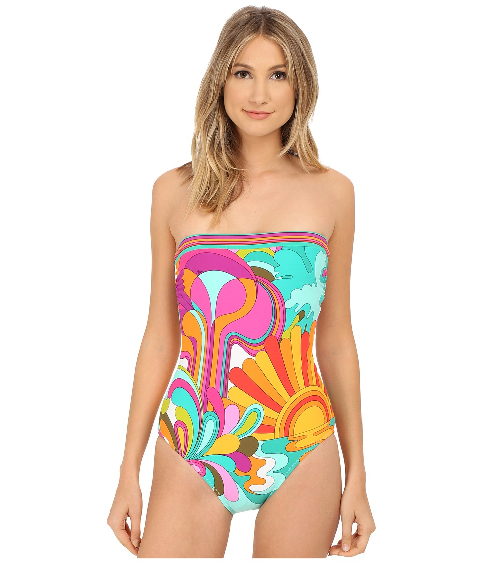 Trina Turk - Playa Azul Bandeau One-Piece (White) Women's Swimwear