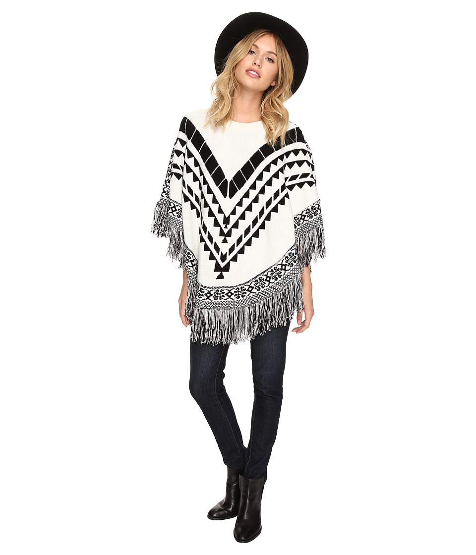 kensie - Plush Knit Sweater Poncho KSDK500S (Ivory Multi) Women's Coat