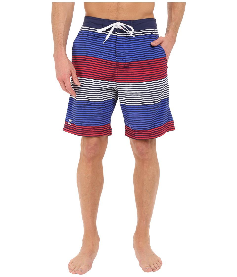 TYR Apollo Jetty Stripe Apollo Swim Shorts (Red/White/Blue) Men