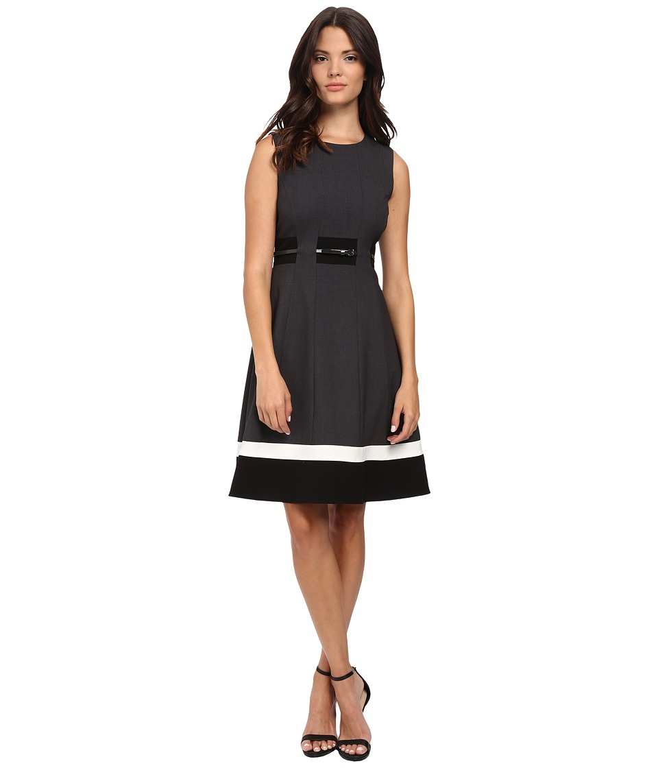Calvin Klein - Fit Flare Colorblock Dress (Charcoal/Black) Women