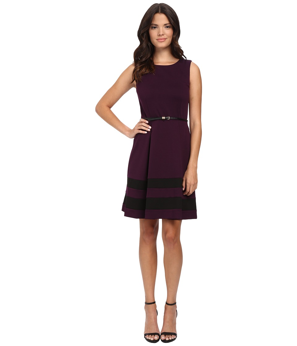 Calvin Klein - Belted Fit Flair Dress (Aubergine/Black) Women's Dress