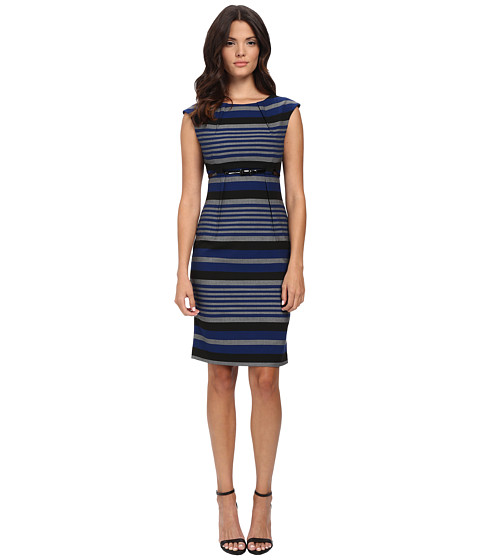 Calvin Klein - Empire Waist Stripe Sheath (Twilight/Tin) Women's Dress