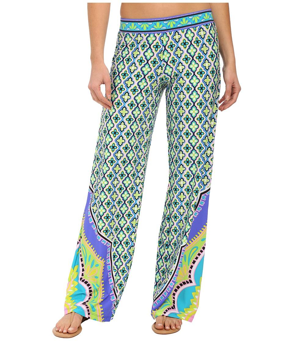 Trina Turk - Shangri La Wide Leg Pants Cover-Up (Cobalt) Women's Swimwear plus size,  plus size fashion plus size appare