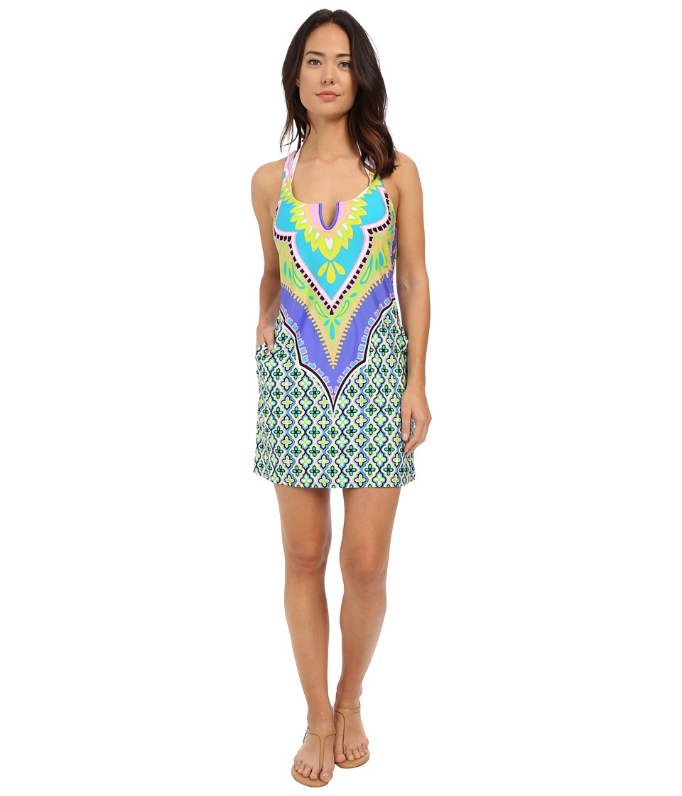 Trina Turk - Shangri La Short Dress Cover-Up (Cobalt) Women's Swimwear
