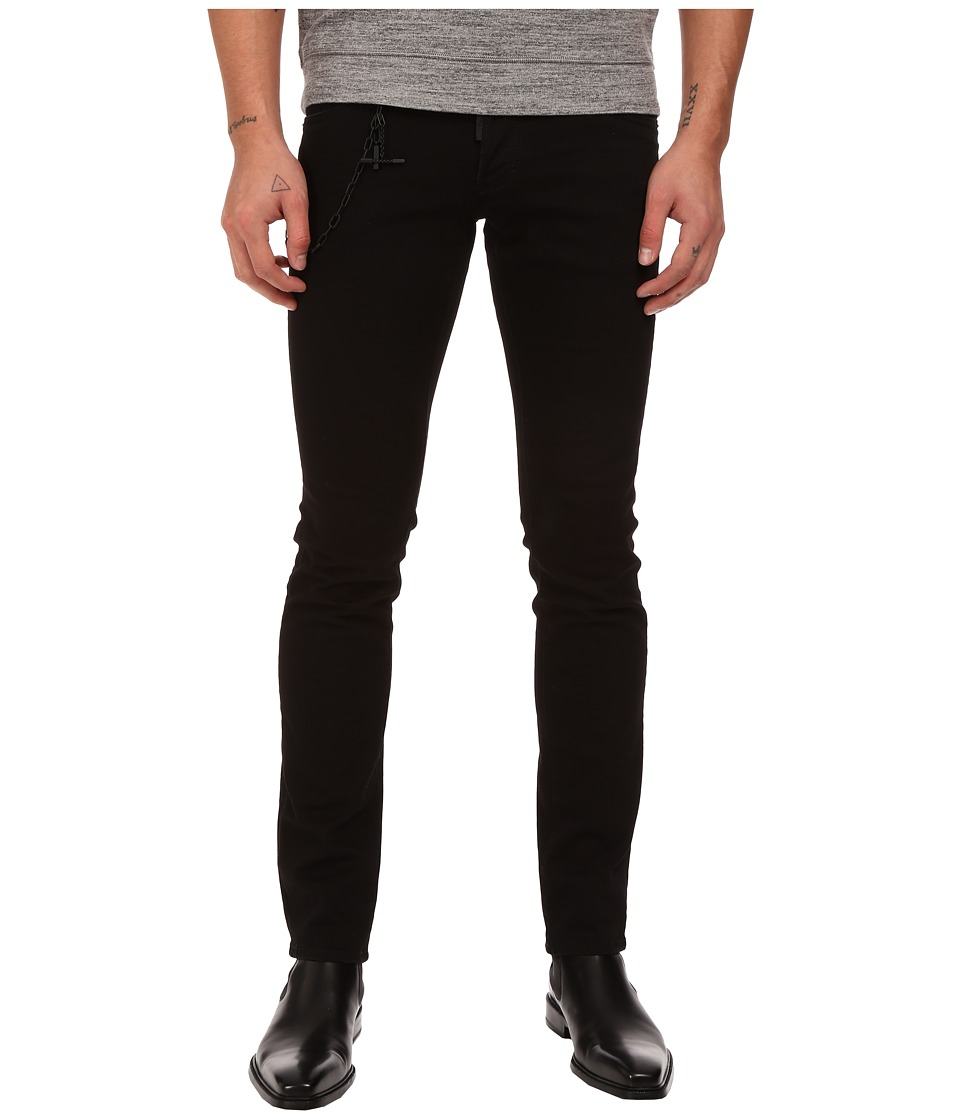 DSQUARED2 - Slim Black Bull Denim with Chain in Black (Black) Men's Jeans