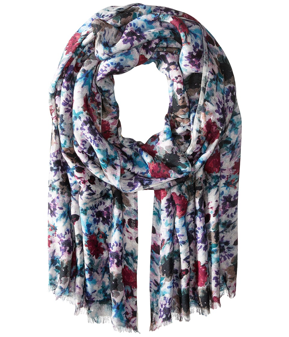Bindya - Stole Painted Garden Cashmere/Silk Wrap (Purple) Scarves