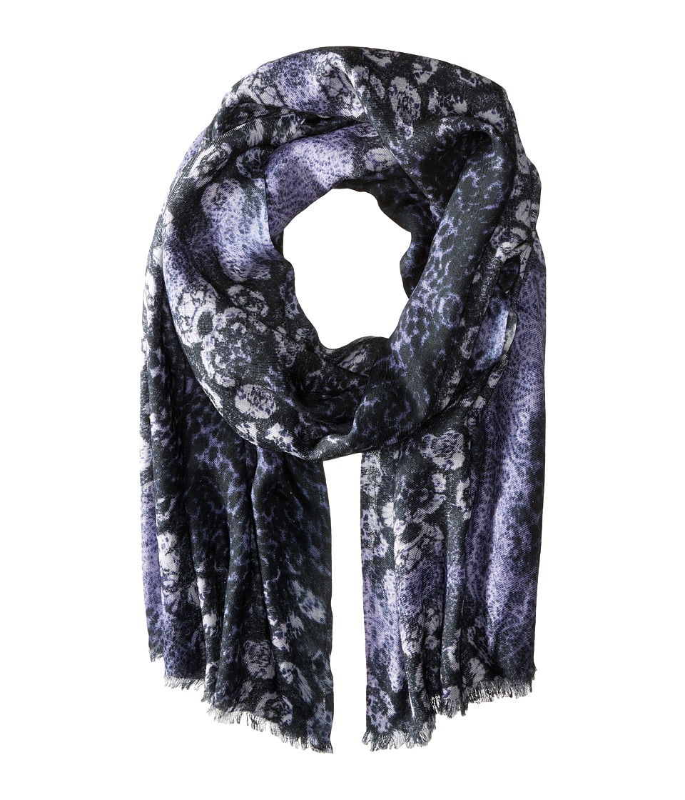 Bindya - Animal Mix Cashmere/Silk Wrap (Blue) Scarves