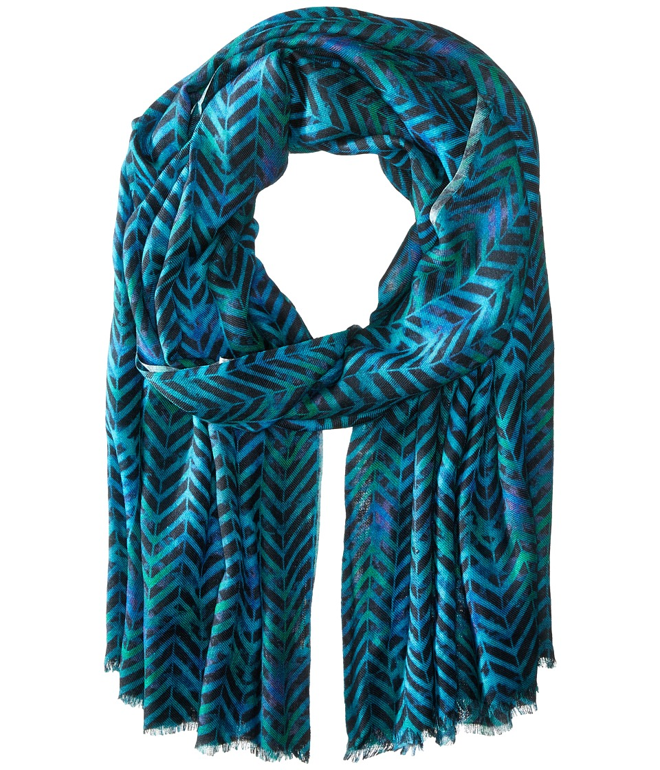 Bindya - Geo Chevron Cashmere/Silk Wrap (Blue) Scarves
