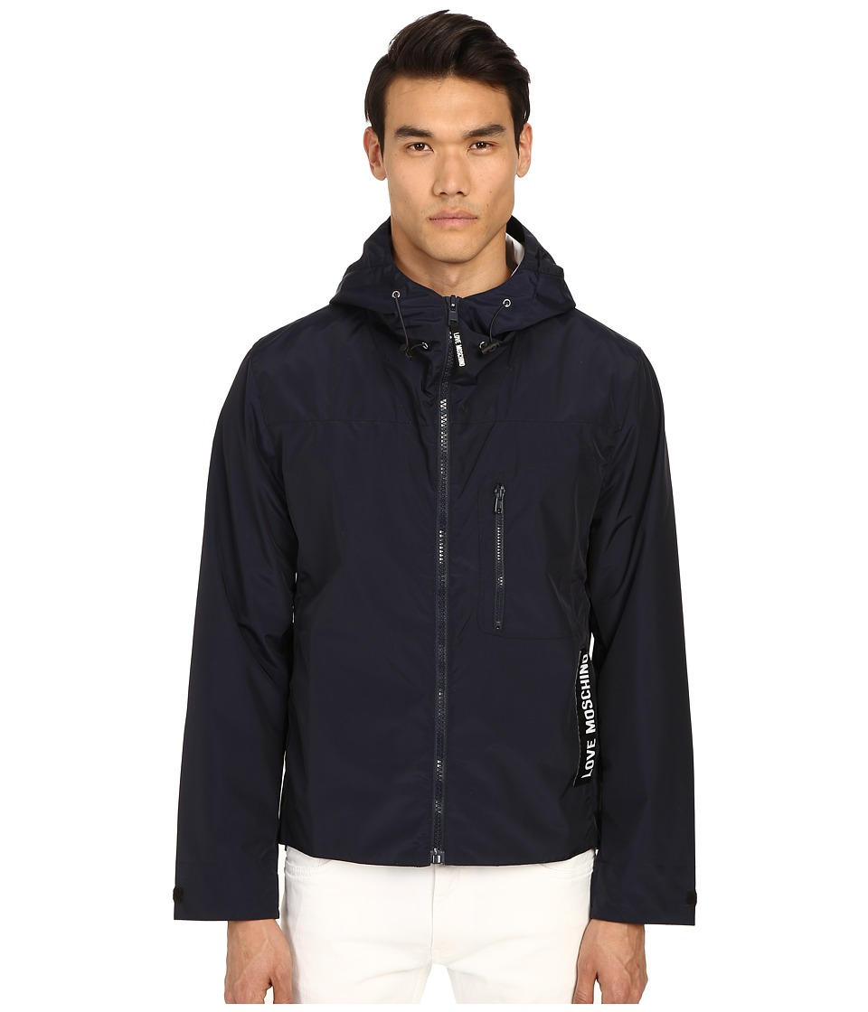 LOVE Moschino - Jacket with Logo Tag (Navy) Men's Coat