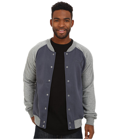 PUMA - Lightweight Fleece Bomber Jacket (Medium Grey Heather) Men's Workout