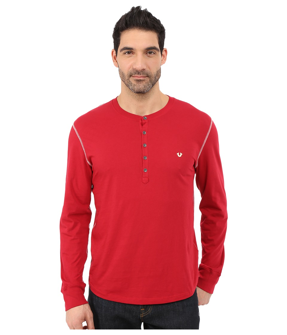 True Religion - Long Sleeve Henley (Chili Pepper) Men's T Shirt
