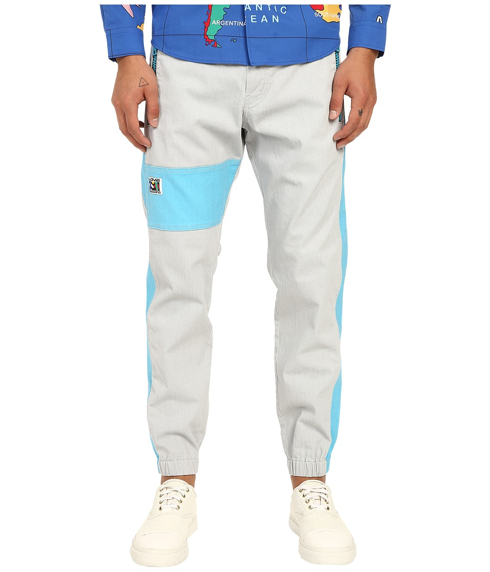 LOVE Moschino - Color Block Jogger (Grey/Azure) Men's Casual Pants