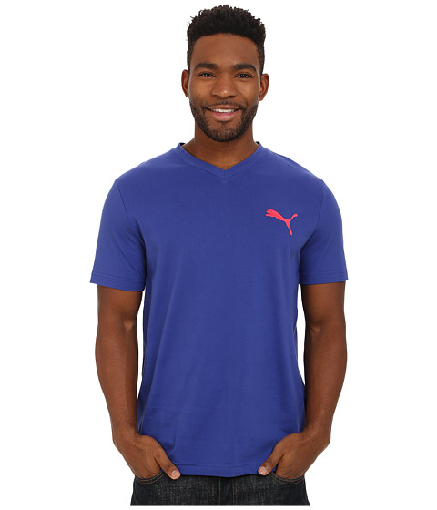 PUMA - Iconic V-Neck Tee (Clematis Blue) Men's Workout