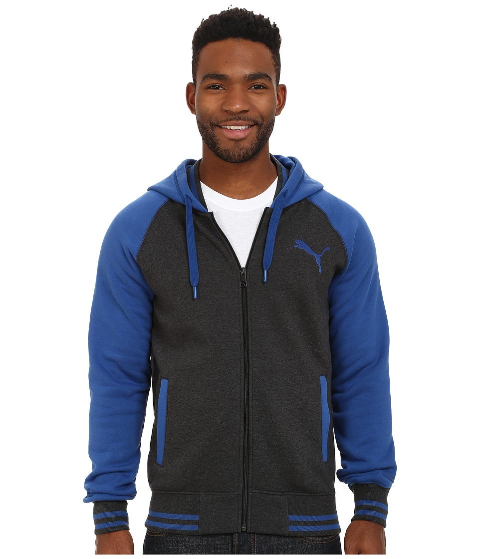 PUMA - Fleece Varsity Hooded Jacket (Dark Grey Heather) Men