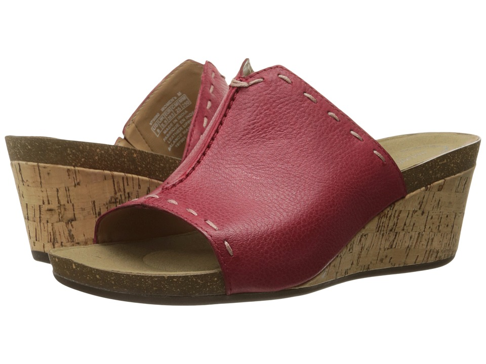 Rockport - Total Motion Taja Slide (Deep Berry Embossed Nubuck) Women's Wedge Shoes