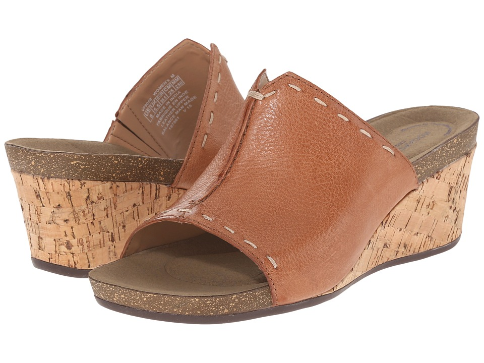Rockport - Total Motion Taja Slide (Rich Tan Embossed Nubuck) Women's Wedge Shoes